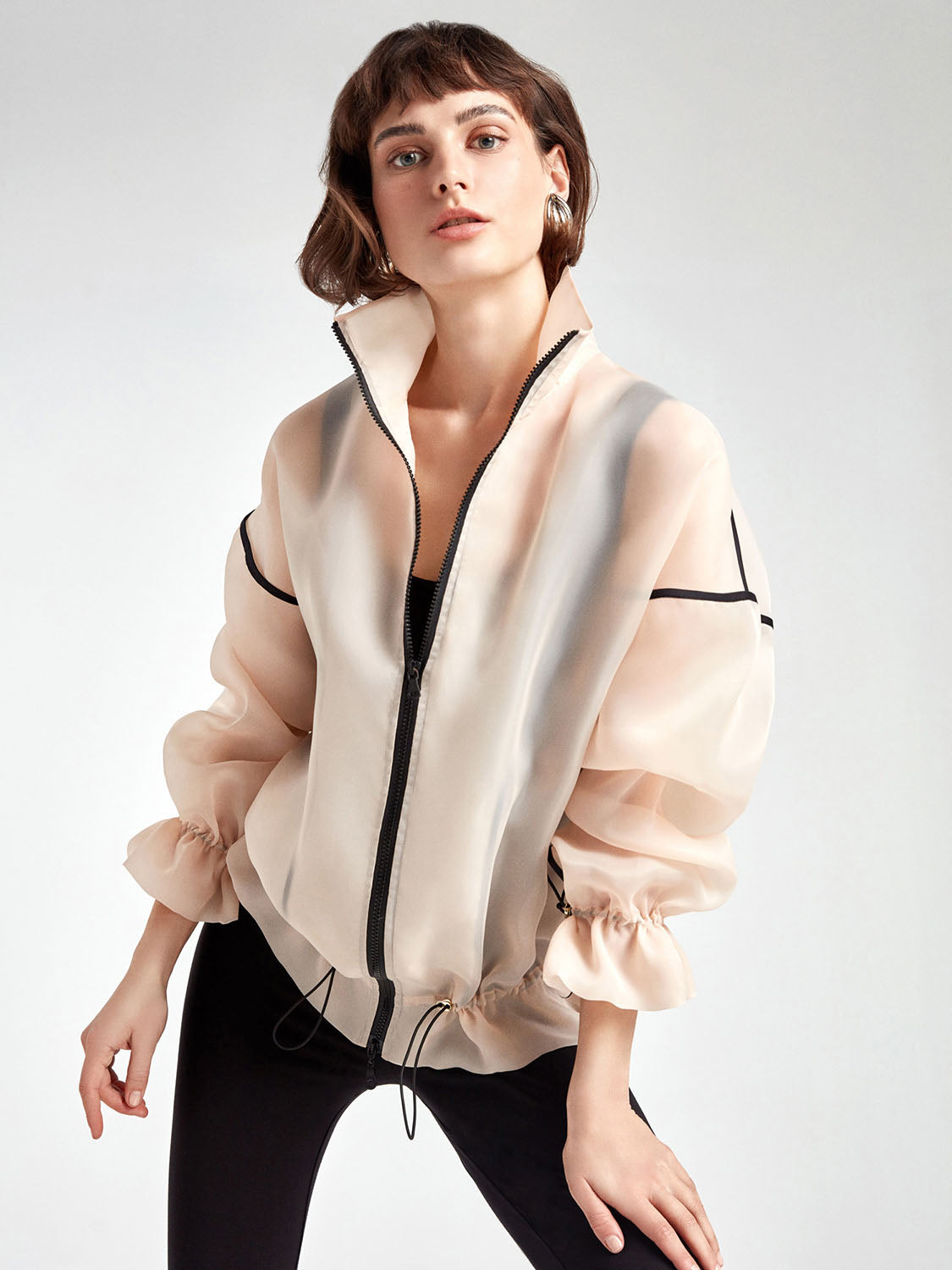 High Collar Organza Jacket