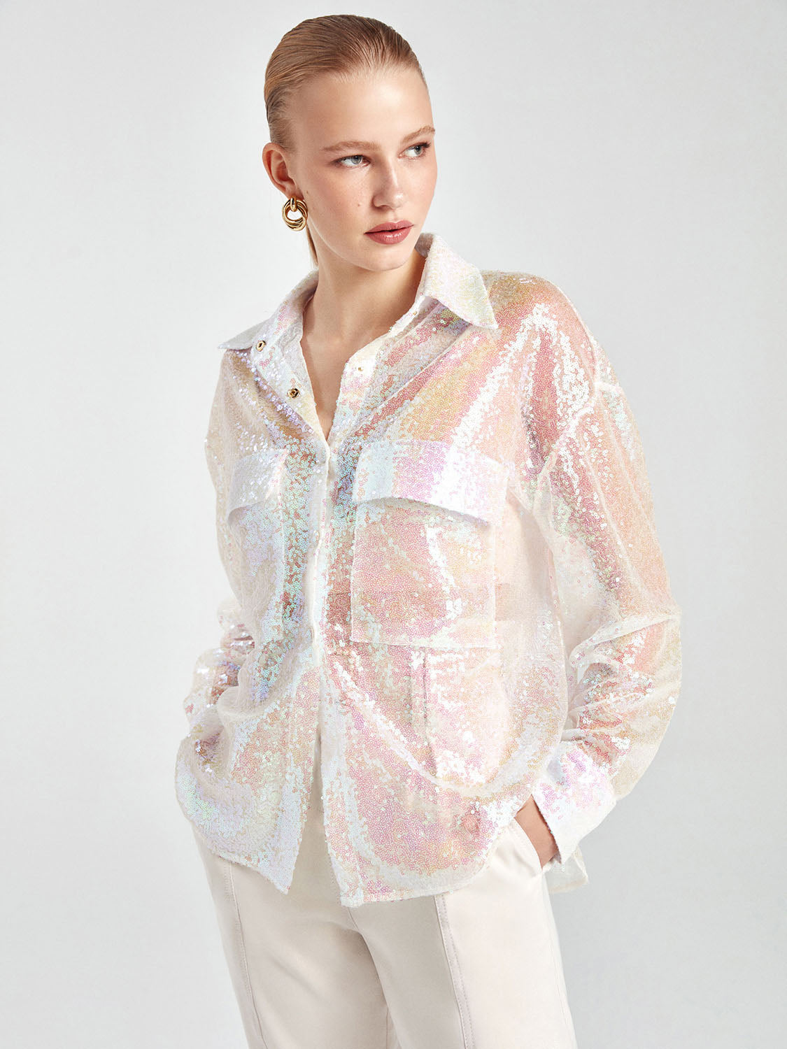 Holographic Sequined Shirt