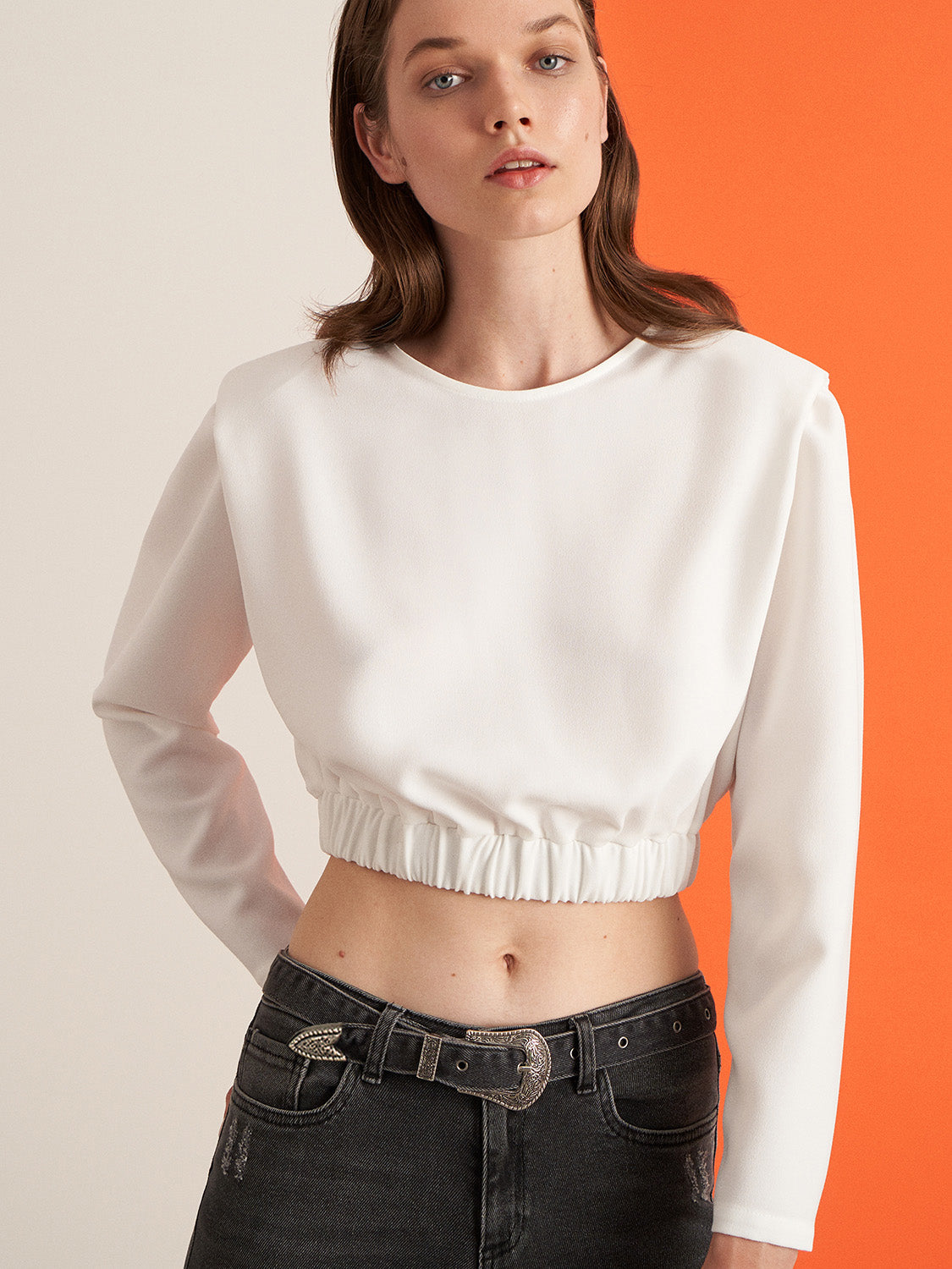 Shoulder Pad Crop Top