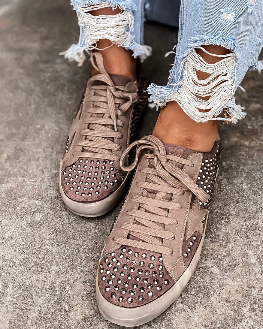 Rock Star Taupe Grungy Sneakers