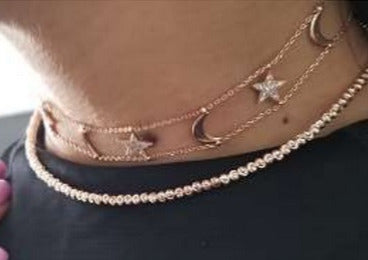 Sterling Silver Stars and Moon Choker (Assorted Colors)