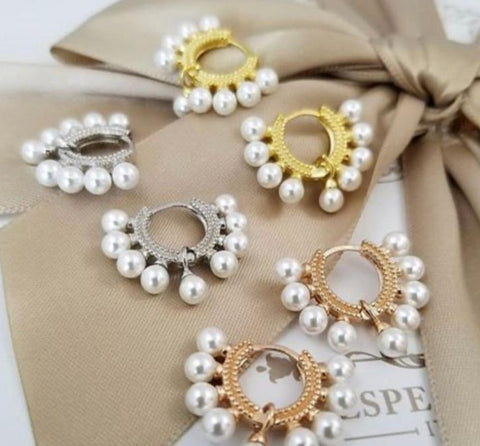 Sterling Silver Palmanova Pearl Hoops (Assorted Colors)