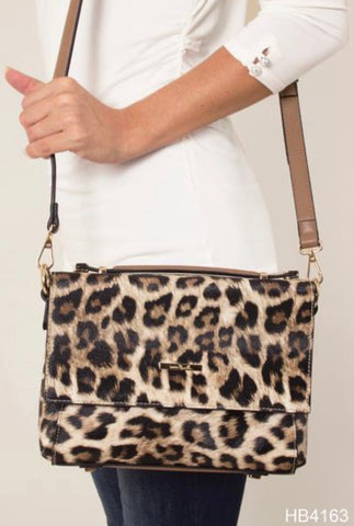 Animal Print Satchel/Messenger Bag