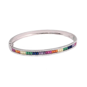Sterling Silver Multicolored Baguette Cuff Bracelet (Assorted Colors)