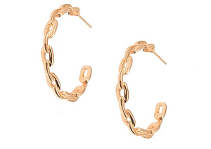 Sterling Silver Arc Marine Chain Earrings in Rose Gold