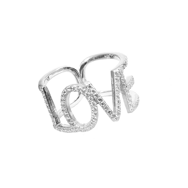 Sterling Silver Pave Love Ring (Assorted Colors)