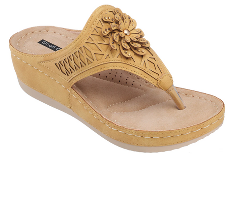Allie Low Wedge Sandal in Yellow
