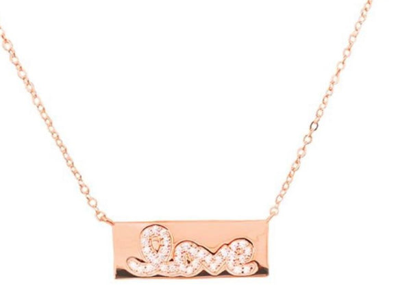 Sterling Silver Love-Plate Necklace (Assorted Colors)