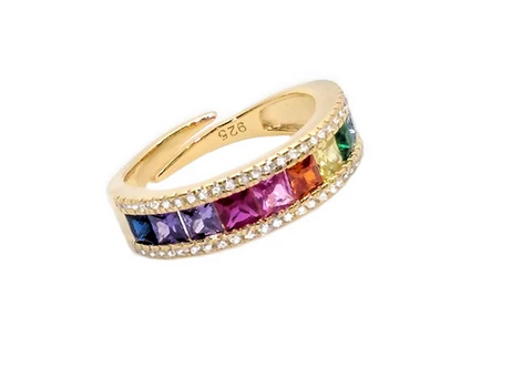 Sterling Silver Multicolored CZ Adjustable Band (Assorted Colors)