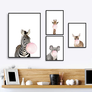 Bubbly Animal Canvas Poster
