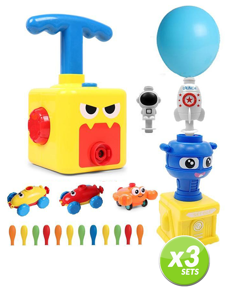 Baloon Powered Car Launcher Toy - 3 x 20 Pcs. SET