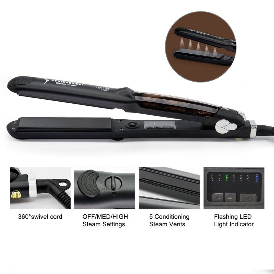 Why not using our Professional Steam Hair Straightener with steam settings engaged to vapor-blast your hair with unbelievable shine and smoothness? or INFUSE HAIR WITH THERAPEUTIC ARGAN OIL.
