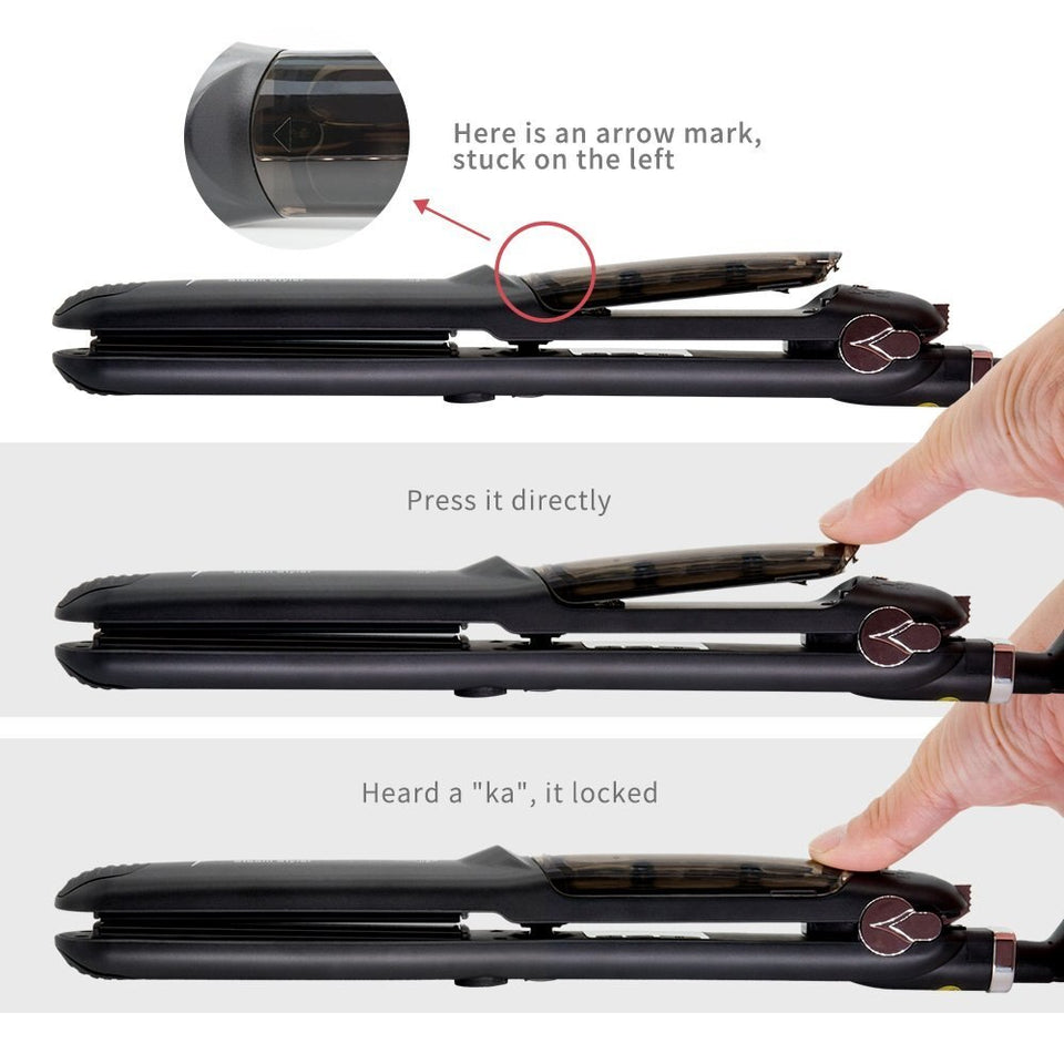 YOU CAN USE THIS NANO CERAMIC PLATE HAIR IRON ON WET AND DRY HAIR.