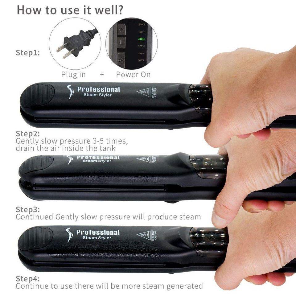Professional Wet or Dry Steam Hair Straightener