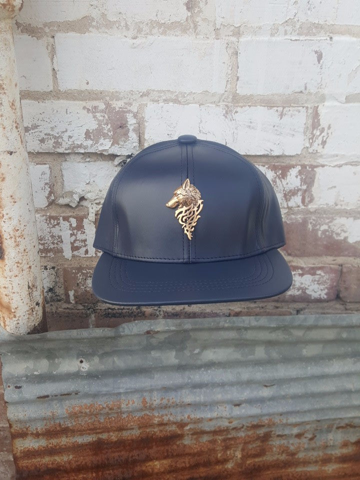 T. TURMAINE Wolf Leather Strapback |Navy