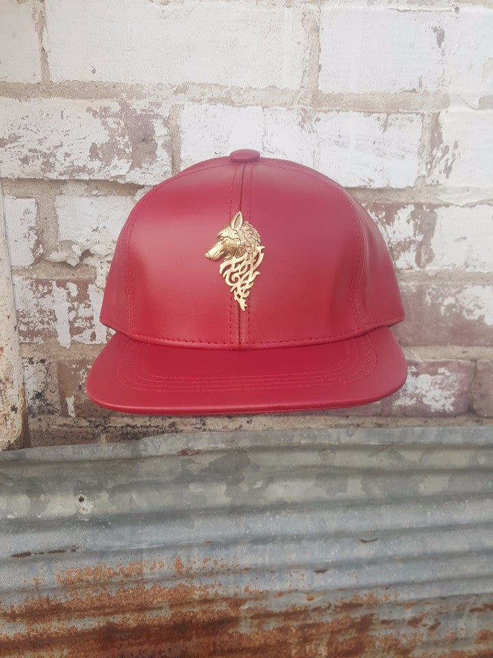 T. TURMAINE Wolf Leather Strapback |Red
