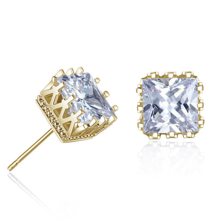 Gold HDQ Princess cut earrings