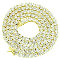 Gold HDQ 6MM Simulated Diamonds Tennis Necklace gold