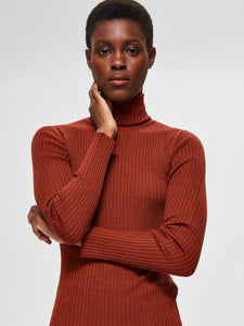 Selected Femme - Rollneck Jumper Smoked Paprika