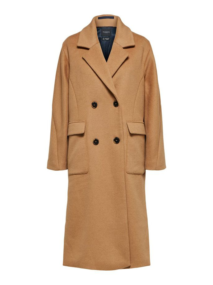 Selected Femme - Double Breasted Wool Coat Beige/Tigers Eye
