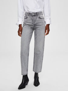 Selected Femme - High Waist Straight Fit Jeans Grey Denim