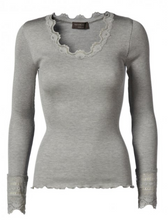 Load image into Gallery viewer, rosemunde_lace_silk_grey_blend_toppe_mads_nordaard_copenhagen_uk_stockists_discount_code