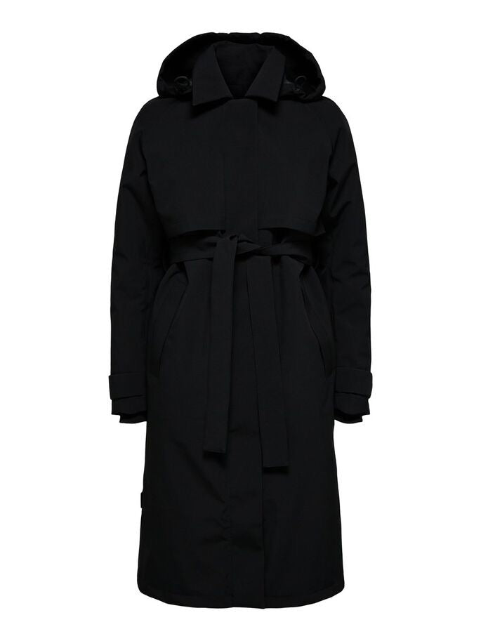 Selected Femme Hooded Technical Trenchcoat Black