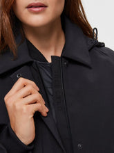 Load image into Gallery viewer, Selected Femme Hooded Technical Trench coat Black Bestseller