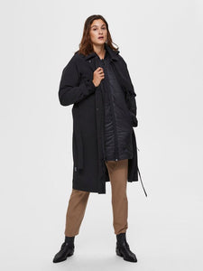 Selected Femme Hooded Technical Trench coat Black Bestseller