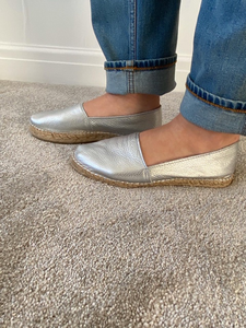 Selected Femme - Leather Espadrilles Silver