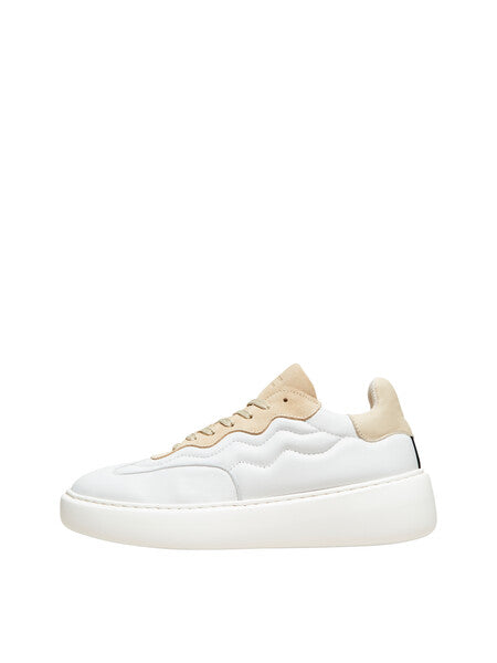 Selected Femme - Amalie Leather Trainers Beige/Nomad