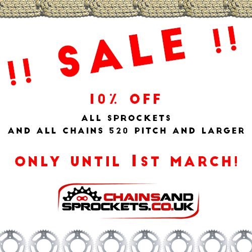 Chains and Sprockets Sale 10% off all sprockets and all chain 520 pitch and larger