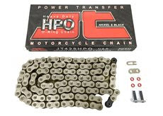 Motorcycle Chain JT O Ring Nickel & Black 428 HPO 108 (RJ)