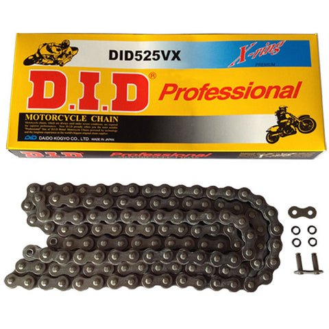 Black X-Ring Heavy Duty DID Motorcycle Chain 525 VX 128 (ZJ)