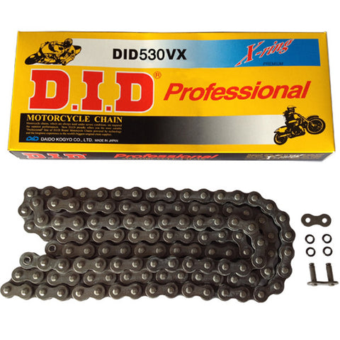Black X-Ring Heavy Duty DID Motorcycle Chain 530 VX 120 (ZJ)