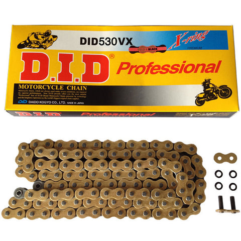 Gold X-Ring Heavy Duty DID Motorcycle Chain 530 VX 110 (ZJ)