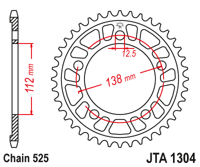 JTA1304 Rear Alloy Drive Motorcycle Sprocket 43 Teeth (JTA 1304.43)