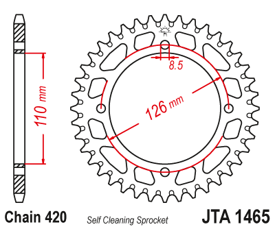JTA1465 Rear Alloy Drive Motorcycle Sprocket 46 Teeth (JTA 1465.46)
