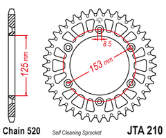 JTA210 Rear Alloy Drive Motorcycle Sprocket 44 Teeth (JTA 210.44)