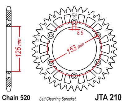 JTA210 Rear Alloy Drive Motorcycle Sprocket 40 Teeth (JTA 210.40)