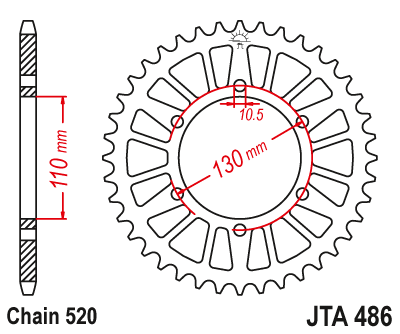 JTA486 Rear Alloy Drive Motorcycle Sprocket 47 Teeth (JTA 486.47)