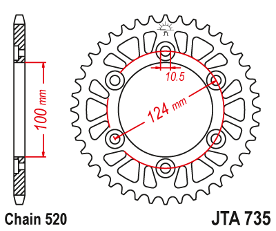 JTA735 Rear Alloy Drive Motorcycle Sprocket 39 Teeth (JTA 735.39)