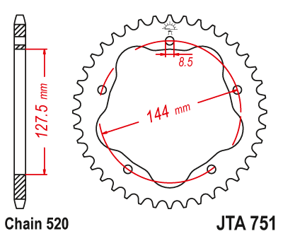 JTA751 Rear Alloy Drive Motorcycle Sprocket 40 Teeth (JTA 751.40)