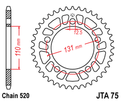JTA75 Rear Drive Motorcycle Sprocket 44 Teeth