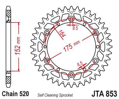 JTA853 Rear Alloy Drive Motorcycle Sprocket 45 Teeth (JTA 853.45)