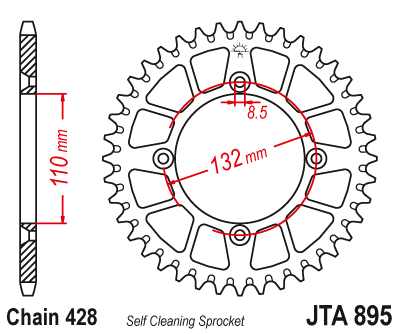 JTA895 Rear Alloy Drive Motorcycle Sprocket 46 Teeth (JTA 895.46)