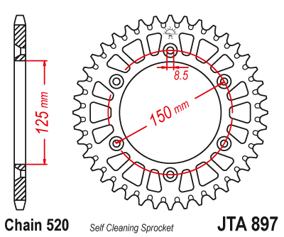 JTA897 Rear Alloy Drive Motorcycle Sprocket 38 Teeth (JTA 897.38)