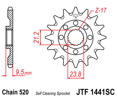JTF1441SC Front Drive Motorcycle Sprocket Self Cleaning 13 Teeth (JTF 1441SC.13)