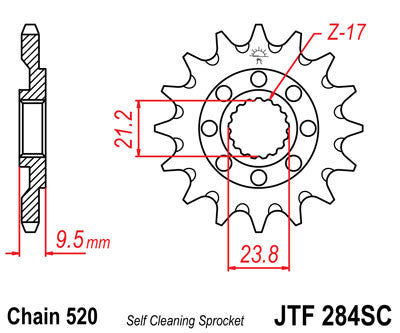 JTF284SC Front Drive Motorcycle Sprocket Self Cleaning 14 Teeth (JTF 284SC.14)