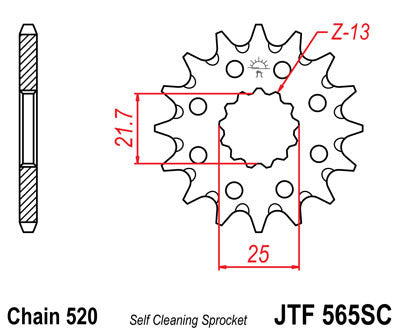 JTF565SC Front Drive Motorcycle Sprocket Self Cleaning 14 Teeth (JTF 565SC.14)